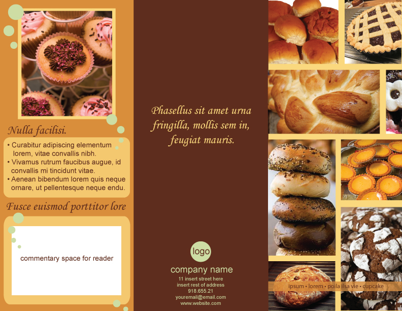 Layout Templates Kathyloureyes - Bakery brochure template free